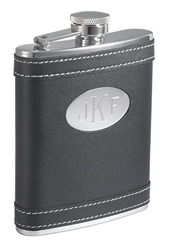 (Personalized Visol Marlon Black Leather 6 oz Flask with Free Engraving)
