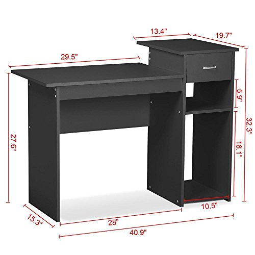 Go2buy small spaces home office black computer desk with drawers and 2 tier storage shelves - Storage shelves for small spaces model ...