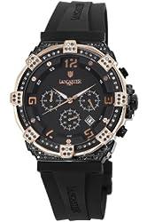 Lancaster Women's OLA0441L/BK/RG/NR Robusto Diamonds Chronograph Black Dial Rubber Watch