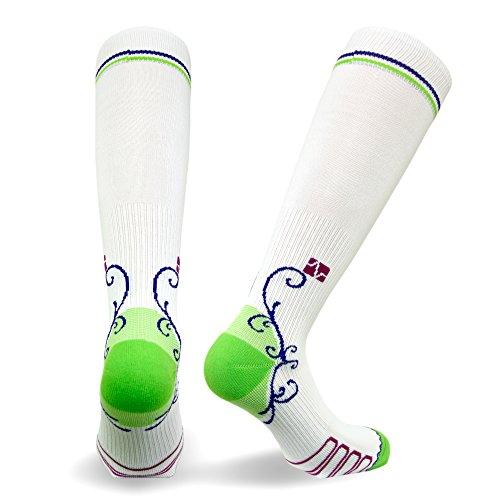 Vitalsox Italian Graduated Compression Socks (1 Pair- Fitted) for Women Best for Running, Travel, Yoga, Nurses, Maternity Pregnancy, White, Medium