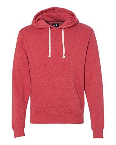 J America Adult Tri-blend Fleece Pullover Hood XS Red Triblend