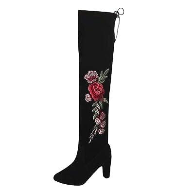 5d0ab8bd5e4 Amazon.com | Anxinke Women Fashion Rose Embroidered Block Heel Thigh ...