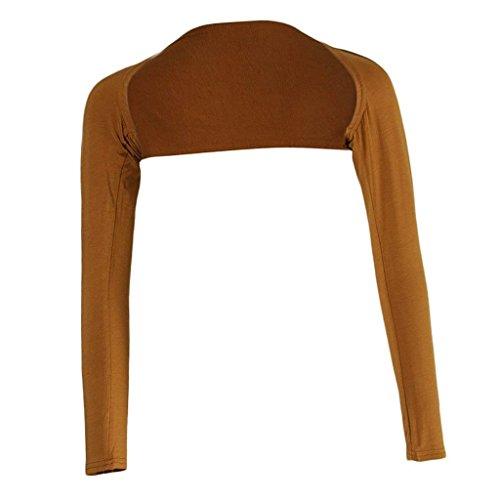 Moda Giacche Bolero Monocromo Lunghe Primaverile Donna Maniche Estivi Cardigan Camicetta Grazioso Braun Eleganti Stlie qwq4PgrH