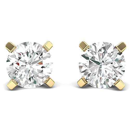 - 1/4ct tw Diamond Stud Earring in 14k White Gold (Yellow)