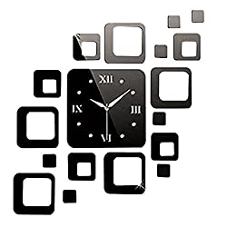 Happy Hours - Creative Wall Clocks / Home DIY Decoration Watch / Living Room Square Mirror 3D Wall Design