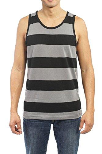 YAGO Men's Striped Tank Top YG5213 (Gray/Black, XX-Large)