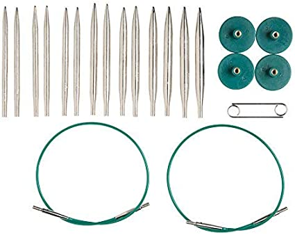 Knit Picks Options 2-3//4 Short Metal Interchangeable Knitting Needle Set Nickel Plated