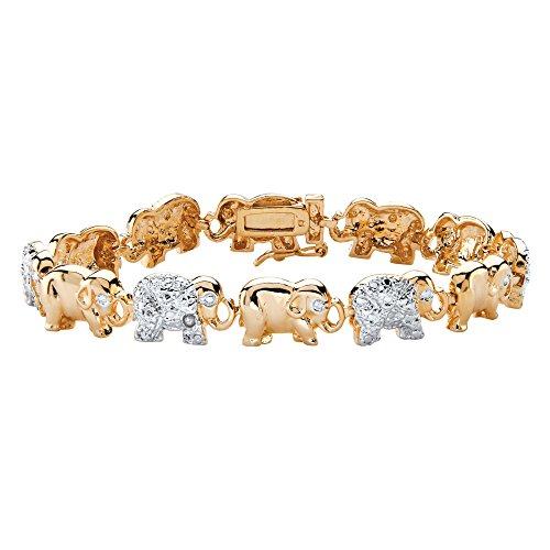 White Diamond Accent Two-Tone 18k Gold-Plated Elephant Parade Bracelet 7.25
