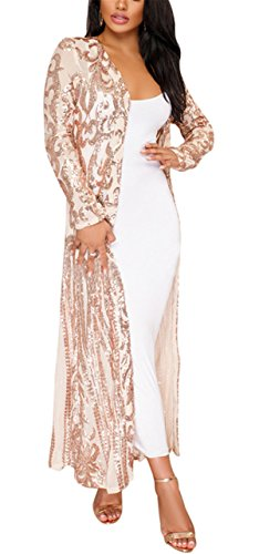 - Fashion Cluster Women's Spring Fall Cover Up Long Sleeve See Through Long Slim Open Front Cardigan Coat Windbreaker Party Club Dress Beige S