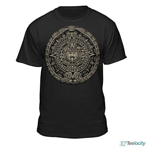 Aztec Calendar Sun Stone Mexican Art Carving Maya Mayans T-Shirt (X-Large) (Shirt Aztec Mens)