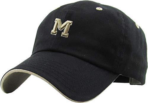 (KPA-1463 BLK M Alphabet Letter Dad Hat Polo Cap)