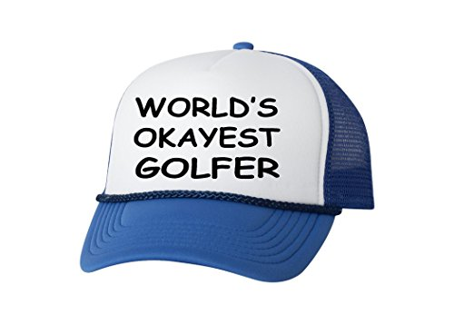 Rogue River Tactical Funny Golf Hat Okayest Golfer Trucker Baseball Cap Retro Vintage Golfers Gift (Blue)