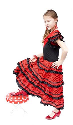 61dc0d1b8 La Senorita Spanish Flamenco Dress Costume – Girls / Kids – Black / Red