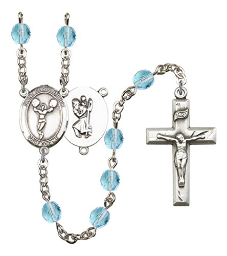 March Birth Month Prayer Bead Rosary with Saint Christopher Cheerleading Centerpiece, 19 Inch]()