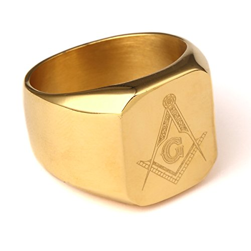 [NYUK Mens Free Maso Hip Hop Steel Gold Ring(9)] (Guys Hip Hop Dance Costumes)