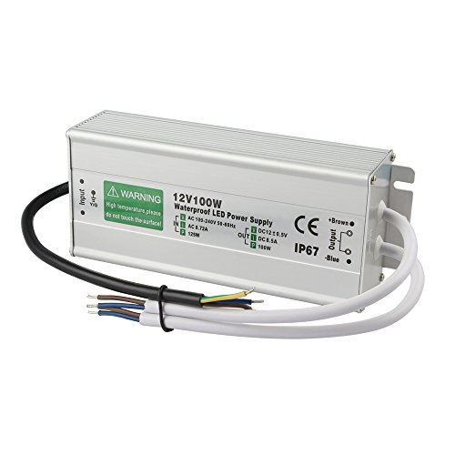 GALYGG DC 12V Power Supply IP67 Waterproof, Outdoor Transformer Driver 100W 8.5A, for LED Strip Lights, Computer Project ()