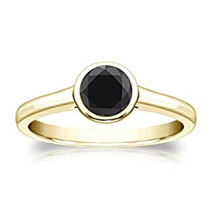Jewelryhub 14k Yellow Gold Plated Bezel Simulated Black Diamond Solitaire Ring 0.75 ct. tw Alloy