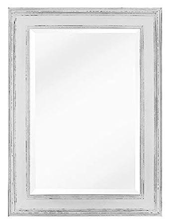 Wandspiegel 106x150x9cm, Recycling-Kiefer massiv weiß antik lackiert