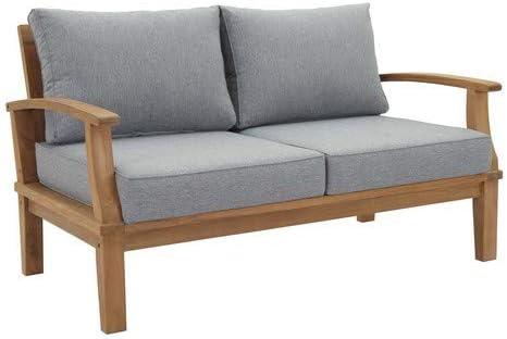 Modway EEI-1144-NAT-GRY-SET Marina Premium Grade A Teak Wood Outdoor Patio Loveseat