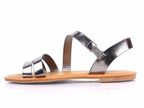 Bamboe Open-teen Strapless Gladiator Volledig Gevulde Voetbed Slingback Instap Sandalen Schoenen Van Tin (zonder Gesp)