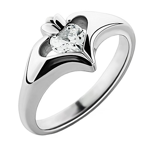 Sterling Silver White CZ ULS-16434CZ Ladies Modern Claddagh Ring (8)