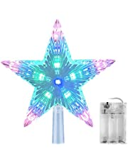 AsperX Christmas Tree Topper Star Multi-colour Flash Star Decoration Light Battery Operated Tree Topper for Christmas (22cm)