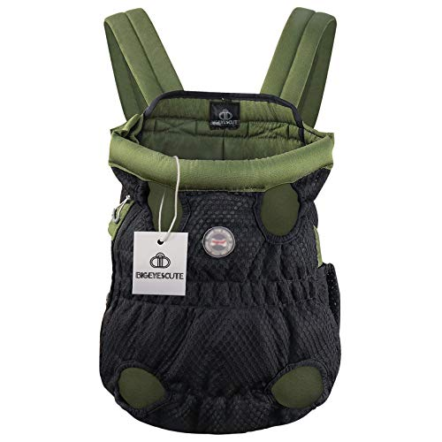 Bigeyescute Pet Carrier Backpack Pet Frontpack Carrier Adjusable Pet Carrier Backpack for Small/Medium Dogs Legs Out Easy-Fit for Traveling Hiking Camping (Size: L)