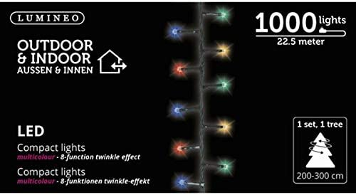 Lumineo 1000 LED Multi-Colored Christmas Compact Lights Set, Green Wire 74 Feet