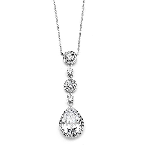 Mariell Cubic Zirconia Y-Shaped Necklace for Brides - Dangling CZ Teardrop Pear-Shaped Pendant