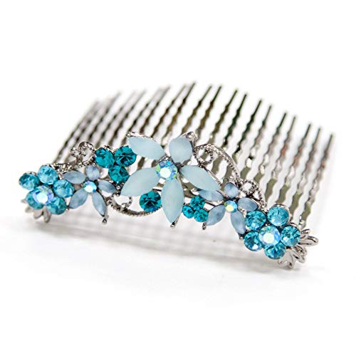 Crystal Hair Comb with Frosted Flowers (Soho Hair Comb)