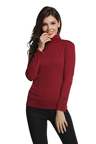 Sofishie Long Sleeve Shirt With Turtle-Neck - Burgundy - Small (Shirt Red Turtleneck)