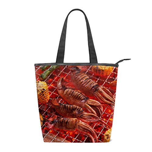 (Women's Canvas Zipper Closure Handbag Seafood Roast Barbecue Handbags Shoulder Lunch Tote Bag with Large Capacity Best Gifts for Teen Girls)