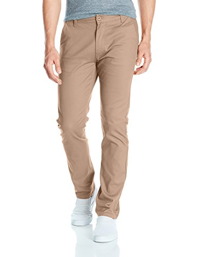 Southpole Men's Flex Stretch Basic Long Chino Pants, Deep Khaki(New), 30X30 - Skinny Stretch Pants