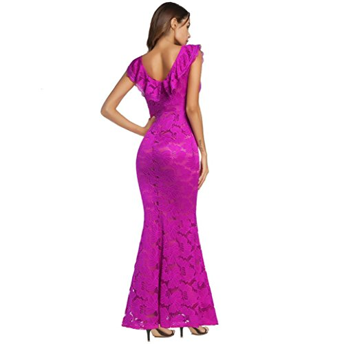Long Prom Women Party Ball Gown Pink Sleeveless Floral Dress Evening Formal Lace Hot fSrSwnxq