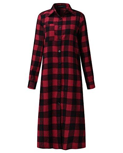 719261 Quadri Moda Camicia V Shirt Lunga Bluse Maglieria Elegante Casual Manica Autunno ZANZEA Rosso Collo Donna Maglietta Top FSqwznEdT