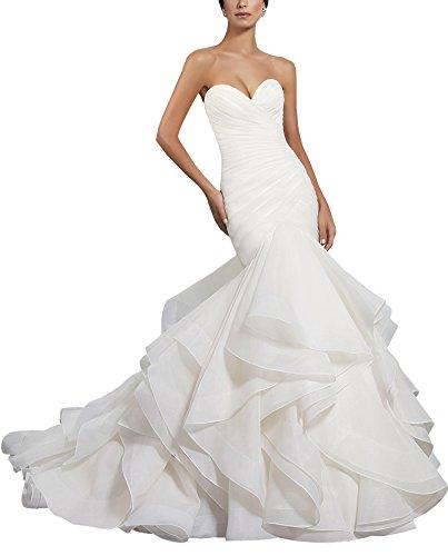 Women's Mermaid Sexy Wedding Dress Sweetheart Ruffled Organza Bridal Gown Ivory - Modern Dresses Bridal