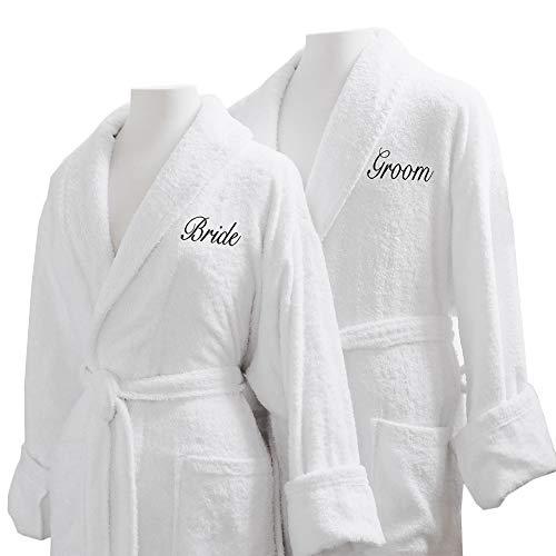 Bride Groom Bath - Caravalli Egyptian Cotton Bath Robes, Terry Spa Robe Gift Set Bride/Groom Embroidery
