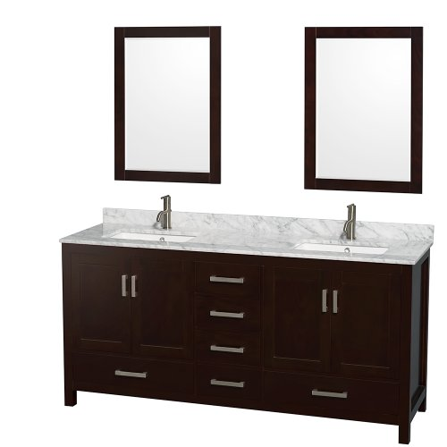 free shipping Wyndham Collection Sheffield 72 inch Double Bathroom Vanity in Espresso, No Countertop, No Sinks, and No Mirror