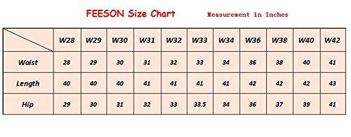 FEESON Men's Straight Leg Slimming Fit Distressed Loose Denim Jeans Dark Blue W30 by FEESON (Image #7)