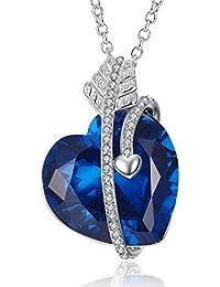 """Cupid's Arrow Created Gemstone Blue Sapphire Heart Pendant Necklace Women, 18"""