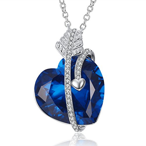 Caperci Cupid's Arrow Created Gemstone Blue Sapphire Heart Pendant Necklace for Women, 18
