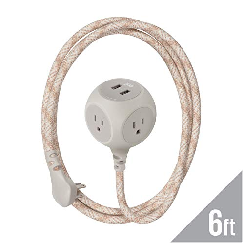 (360 Electrical 360463 Habitat Braided Extension Cord w/ 2.4A Dual USB, 6 ft, Harmony - Sugar Maple,)