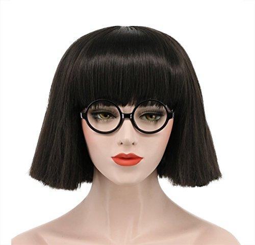 Karlery Women's Short Bob Straight Dark Black Wig Halloween Cosplay Wig Anime Costume Party Wig -