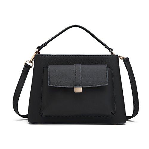 Bolso Handbag mujeres compartimento central con Miss bolsillo superior niñas Negro Elegant para bandolera 1770 1770 Fresh delantero Lulu de Gris X7q58