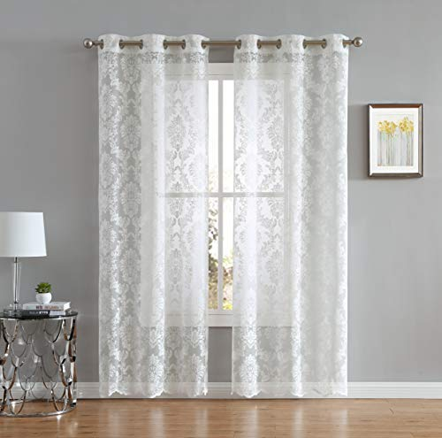 LinenZone Lisa Knitted Lace Curtain Medallion Design with Scalloped Bottom - Total Size 76 Inch Wide (38 Inch Each Panel) - 63 Inch Long - Total 12 Grommets (2 Panels 38 x 63, Ivory) ()