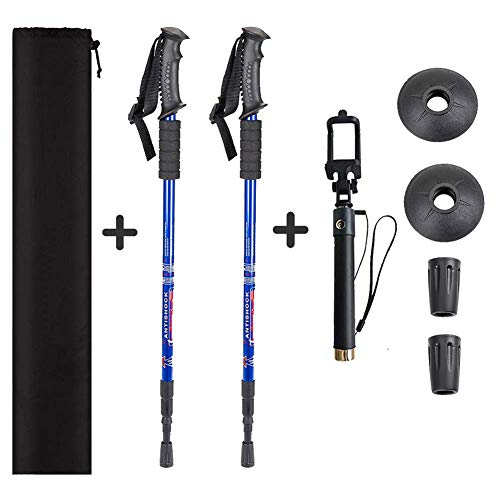Aihoye Trekking Poles, Collapsible Lightweight Shock-Absorbent Hiking Walking Sticks Adjustable Aluminum Hiking Poles for Women Men Kids, 2 Pack, with Extendable Selfie Stick(Blue)