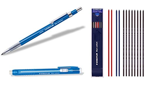 Staedtler Mars Techno Mechanical Technical Pencil Writing Supplies Set Composed by Withjenny - Lead Holder(780C), Stick Eraser(52850) & Lead 2mm HB 1 Dozen Mix Color (8 Black + 2 red + 2 Blue) ()