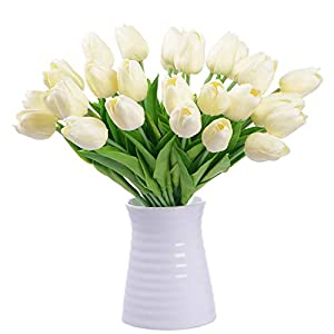 DearHouse Artificial Tulips Silk Flowers - 20 Pcs Fake Tulip Flowers Bouquet Real Touch Tulips Artificial Flowers for Home Wedding Party Decor 4