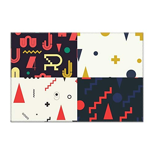 Price comparison product image yyoungsell Placemats Dining Table Geometric Pattern Durable Kitchen Table Mats Washable Heat Resistant Stain-Resistant Non Slip Placemat