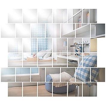 Anladia Wandspiegel Spiegelfliesen Selbstklebend 15 X 15cm 32 Stuck